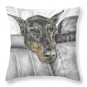 Throw Pillow featuring the drawing Are We There Yet - Doberman Pinscher Dog Print Color Tinted by Kelli Swan