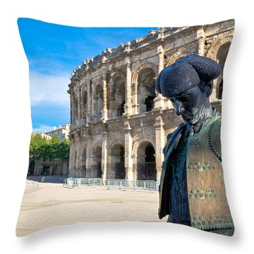 Arenes De Nimes Bullfighter Throw Pillow by Scott Carruthers