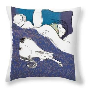 Aren't They Cute When They Are Sleeping Throw Pillow by Leela Payne