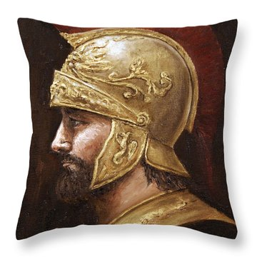 Throw Pillow featuring the painting Ares by Arturas Slapsys