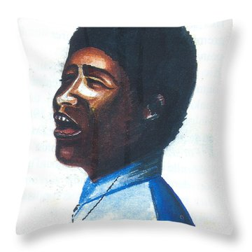 Throw Pillow featuring the painting Aretha Franklin by Emmanuel Baliyanga