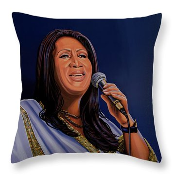 Aretha Franklin Painting Throw Pillow by Paul Meijering