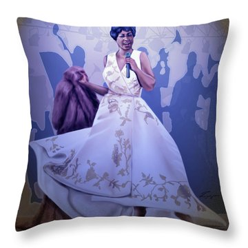 Aretha Franklin Rock Steady Throw Pillow