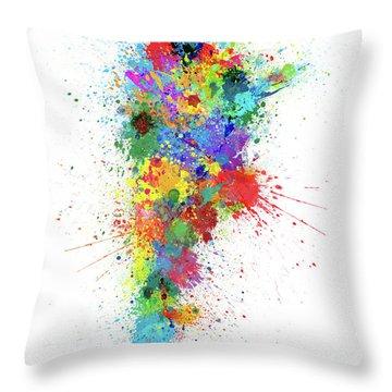Argentina Paint Splashes Map Throw Pillow