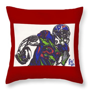 Throw Pillow featuring the drawing Arian Foster 1 by Jeremiah Colley