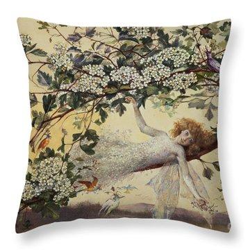 Ariel Throw Pillow by John Anster Fitzgerald