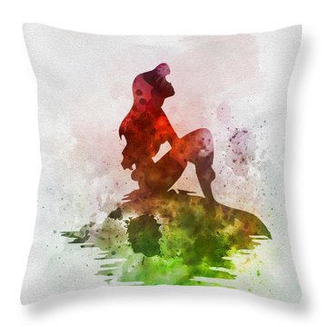 Ariel On The Rock Throw Pillow