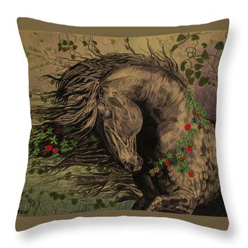 Aristocratic Horse Throw Pillow by Melita Safran