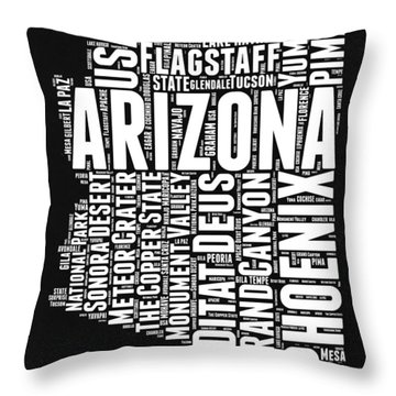 Arizona Black And White Word Cloud Map Throw Pillow by Naxart Studio