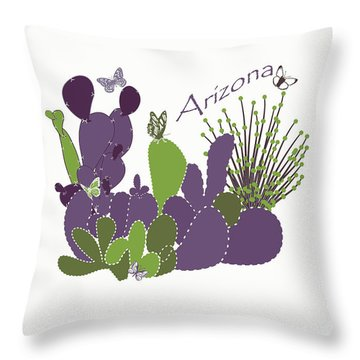 Throw Pillow featuring the digital art Arizona Cacti by Methune Hively