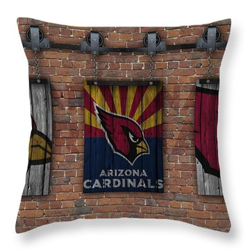 Arizona Cardinals Brick Wall Throw Pillow by Joe Hamilton