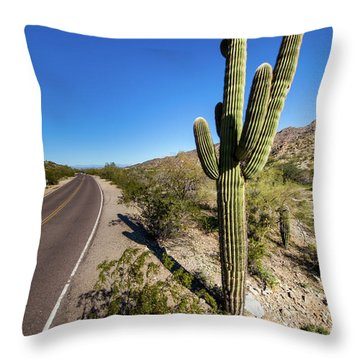 Arizona Highway Throw Pillow by Ed Cilley
