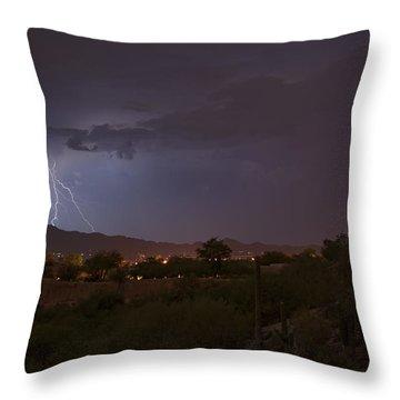 Throw Pillow featuring the photograph Arizona Monsoon Lightning by Dan McManus