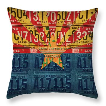 Arizona State Flag Vintage License Plate Art Throw Pillow by Design Turnpike