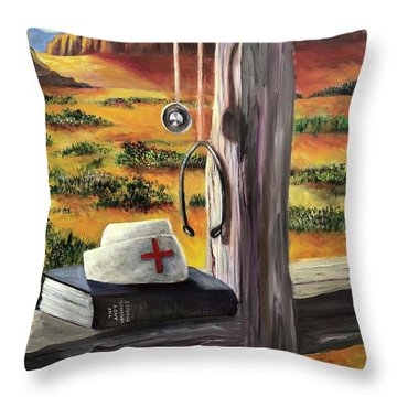 Throw Pillow featuring the painting Arizona The Nurse And Hope by Randol Burns