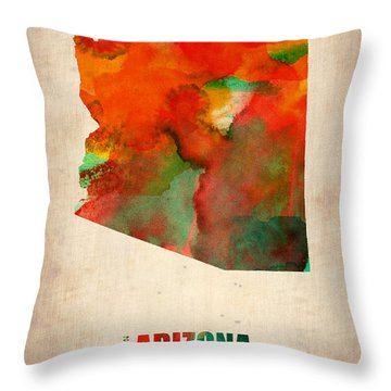 Arizona Watercolor Map Throw Pillow