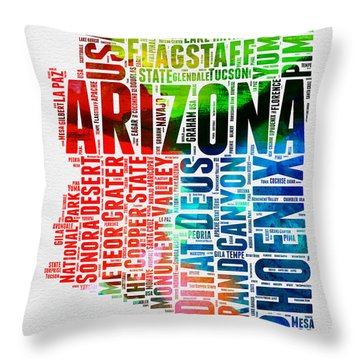 Arizona Watercolor Word Cloud Map  Throw Pillow by Naxart Studio