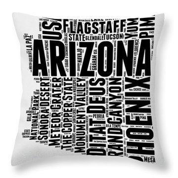 Arizona Word Cloud Map 2 Throw Pillow by Naxart Studio