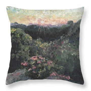 Arkansas Mountain Sunset Throw Pillow by Nadine Rippelmeyer