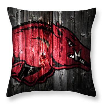 Arkansas Razorbacks 2a Throw Pillow by Brian Reaves