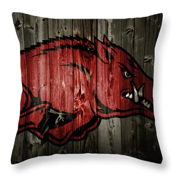 Arkansas Razorbacks 2b Throw Pillow by Brian Reaves