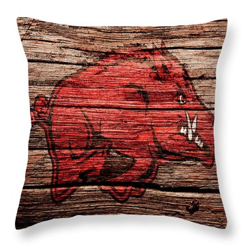 Arkansas Razorbacks Throw Pillow by Brian Reaves