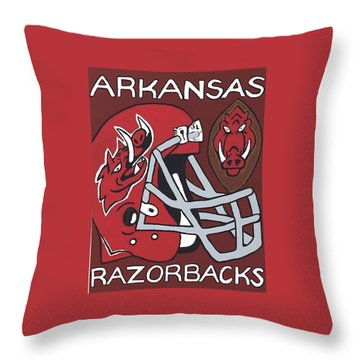Arkansas Razorbacks Throw Pillow by Jonathon Hansen