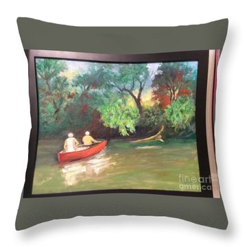 Arkansas River Float Throw Pillow by Marcia Dutton