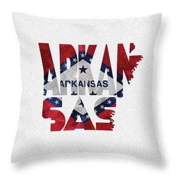 Arkansas Typographic Map Flag Throw Pillow