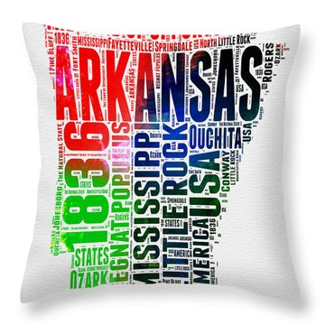 Arkansas Watercolor Word Cloud  Throw Pillow