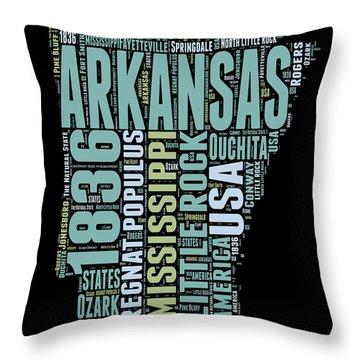 Arkansas Word Cloud 1 Throw Pillow