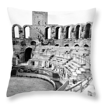 Arles Amphitheater A Roman Arena In Arles - France - C 1929 Throw Pillow by International  Images
