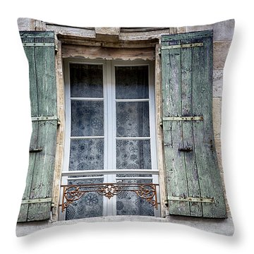 Arles France Green Window And Shutters Throw Pillow