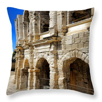 Throw Pillow featuring the photograph Arles Roman Amphitheater by Olivier Le Queinec