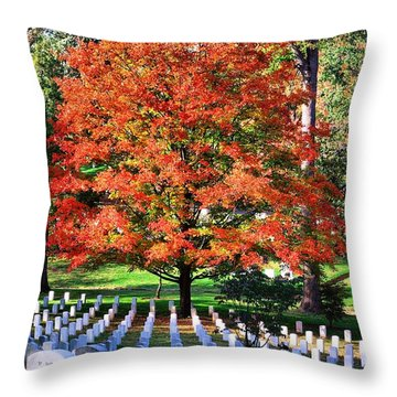 Throw Pillow featuring the photograph Arlington Cemetery In Fall by John S