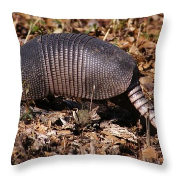 Armadillo In Autumn Throw Pillow by Bruce W Krucke