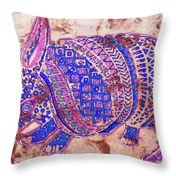 Throw Pillow featuring the painting Armadillo by J- J- Espinoza