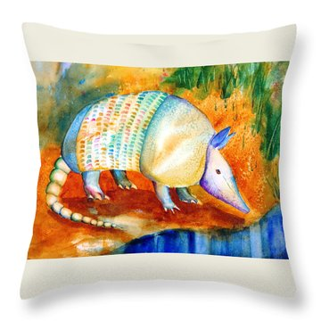 Armadillo Reflections Throw Pillow by Carlin Blahnik
