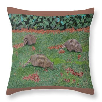 Throw Pillow featuring the painting Armadillos In The Yard by Hilda and Jose Garrancho