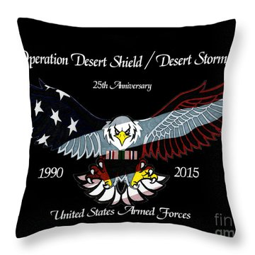 Armed Forces Desert Storm Throw Pillow by Bill Richards