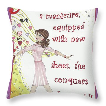 Armed With A Manicure Throw Pillow