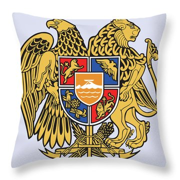 Throw Pillow featuring the drawing Armenia Coat Of Arms by Movie Poster Prints