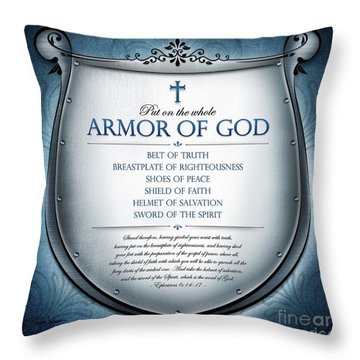 Throw Pillow featuring the digital art Armor Of God by Shevon Johnson