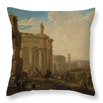 Army Advancing Among Roman Ruins Throw Pillow