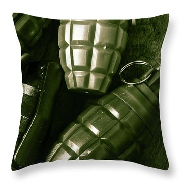 Army Green Grenades Throw Pillow