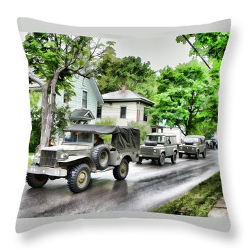 Army Jeeps On Parade Throw Pillow