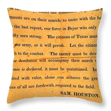 Texian Army Orders Call To Arms Broadside From Sam Houston 1836 Texas Revolution Throw Pillow