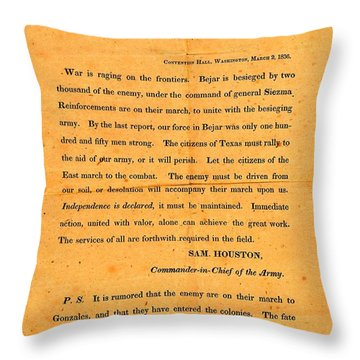 Throw Pillow featuring the drawing Texian Army Orders Call To Arms Broadside From Sam Houston 1836 Texas Revolution by Peter Gumaer Ogden