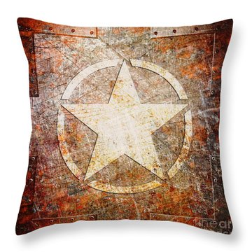 Army Star On Rust Throw Pillow