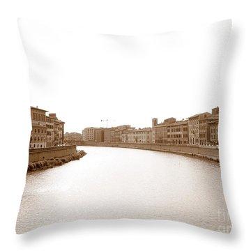 Arno River In Pisa Throw Pillow